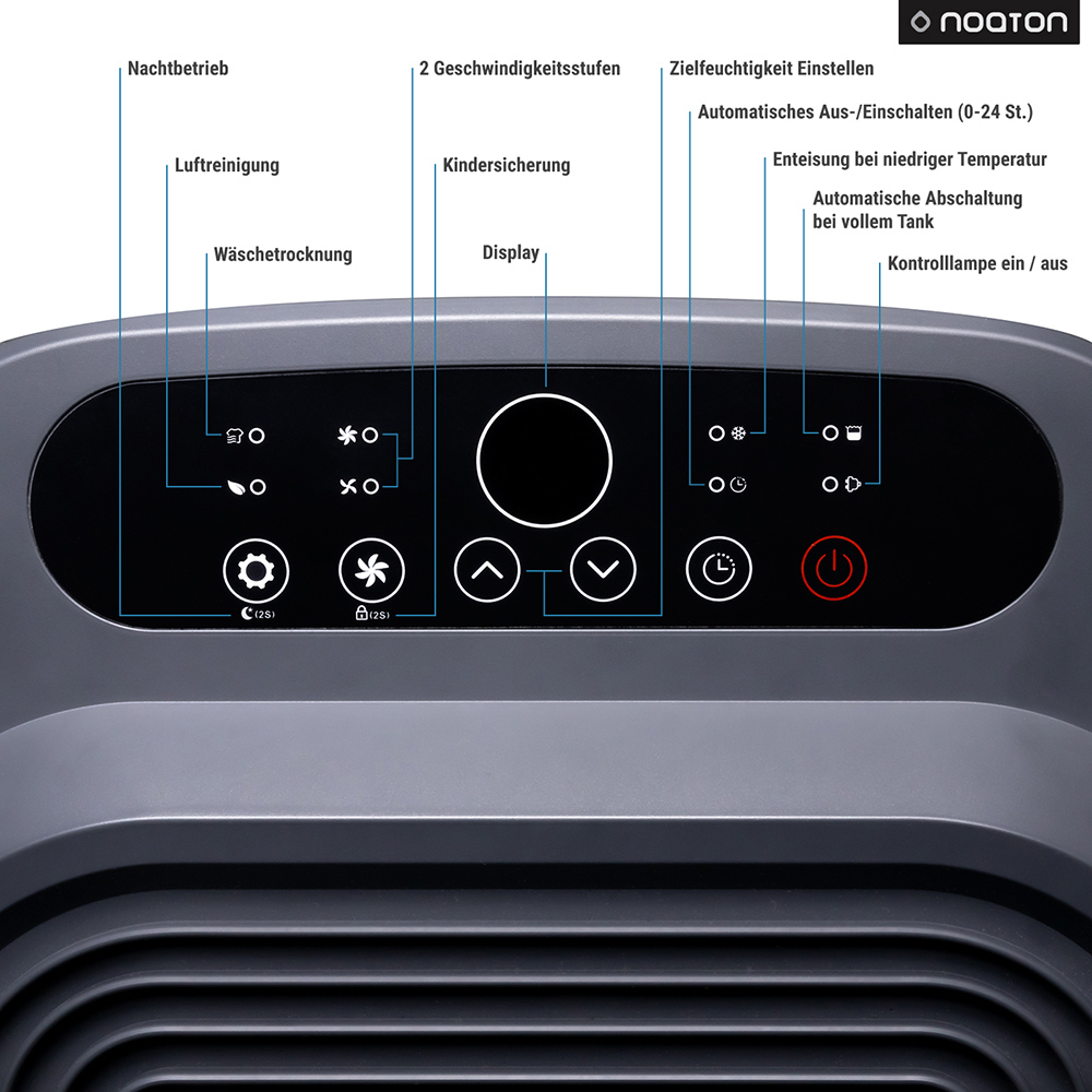 Luftentfeuchter & Luftreiniger Noaton DF 4214 HEPA - die Display
